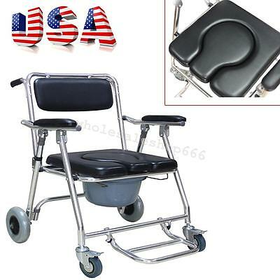 US Transport Shower Bedside Commode Folding Wheelchair Toilet Chair Aluminum NEW