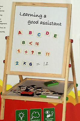2 In 1  Kids  Wooden Blackboard Easel Stand  , With Alphabets And Number Tiles
