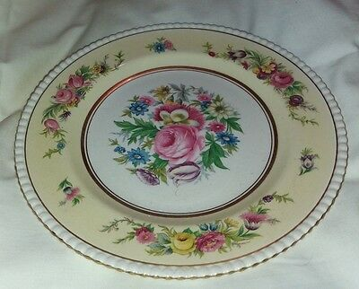 Vintage   Ambassador  Ware  Yellow   And  Floral   Cake Plate  -  1950`s