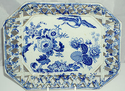 Ridgway STAFFORDSHIRE Stone China reticulated early C19th Blue & White dish