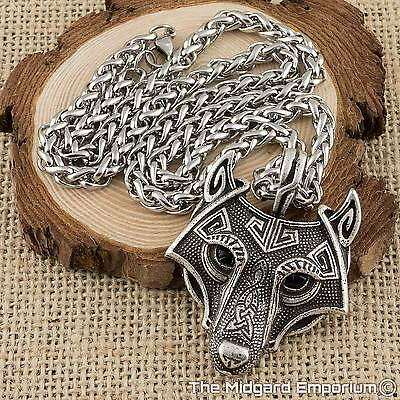 Viking Fenrir Wolf Head Antique Silver Pendant With Leather Necklace - UK Stock