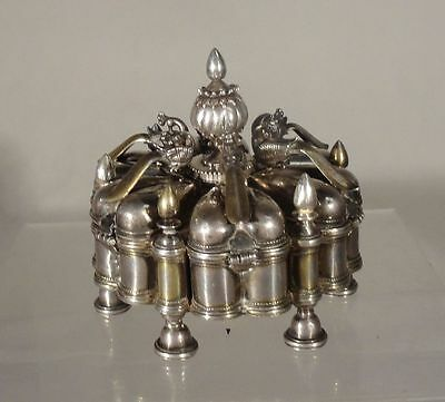 Antique Indian Sterling Gilt Silver Peacock Spice Box Containter Pandan