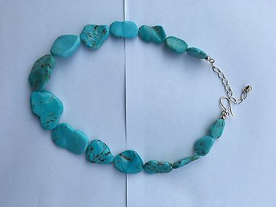 Jay King DTR Necklace Chunky Thick Stone Turquoise Signed Sterling 925
