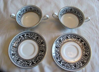 Wedgwood Soup Cup And Saucer X 2 Florentine Pattern W4312