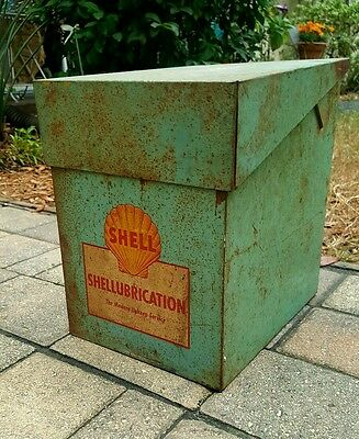 Vintage **rare** Shell Lubrication Gas Oil Rack Box Sign Lube Service Station