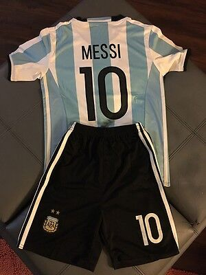 Argentina Messi Home Youth Kids Soccer Jersey + Shorts Size 22 (6-7 Years Old)