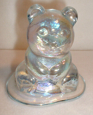 """Wheaton Glass Clear Iridescent """"Teddy Bear""""  Figurine Paperweight On Base"""