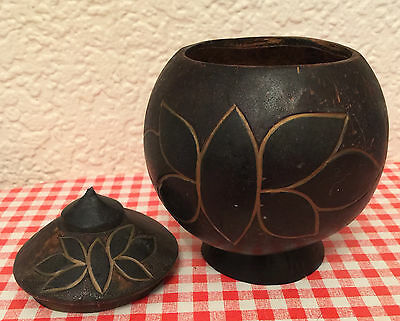 Antique COCONUT SHELL POT & LID. Hand Carved Lotus Flower Bowl HAWAIIAN Vintage