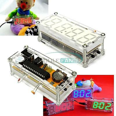 Red DIY Kit LED Electronic Clock Microcontroller Digital Clock Time Thermometer