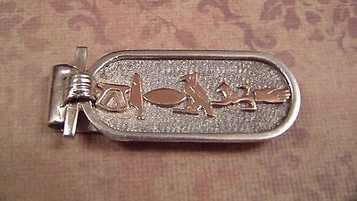 "Ballou Sterling and 18K Gold Money Clip, Egyptian Hieroglyph, says ""Gerald"""