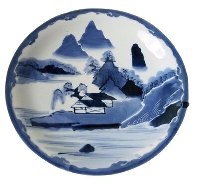 Antique Japanese Blue and White Large Plate w/ Mountains and Village