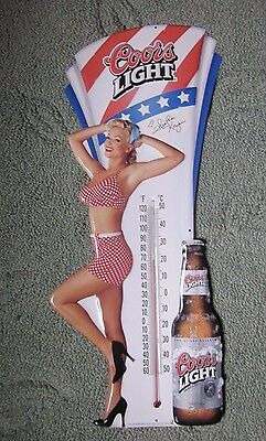 NOS Coors Light Beer Thermometer Bar Playboy Pin Up Heather Kozar Autograph
