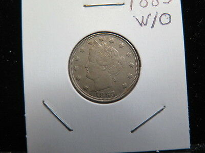 1883 5C No CENTS Liberty Nickel. Choice Extra Fine Circulated Condition.  #3355
