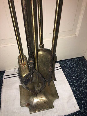 Vintage Novelty Brass Plated (Coated) Fireplace Tool Set