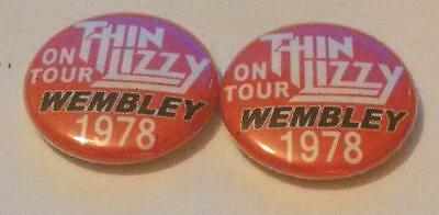 3 Thin Lizzy Wembley 1978 Badges Mint Condition Phil Lynott