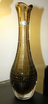 Magnor Art Glass Vase with Controlled Air Bubbles c.1950/60'S (28 cm) Norway