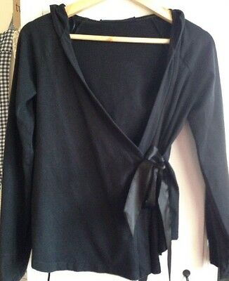 Black  Maternity Cotton, Hoodie  Wrap Jumper, Size S, With Ribbon Satin  Bow