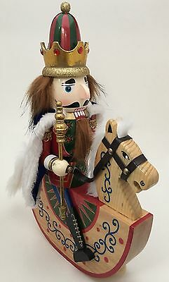 "14"" Wooden Nutcracker Soldier On Rocking Horse Christmas Holiday Decor"