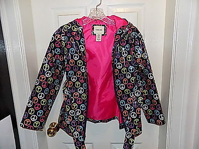 Cherokee Rain Hooded Coat Jacket Peace sign Girls Size M 7/8 lined hot pink