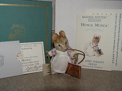 R John Wright Hunca Munca Mouse From Beatrix Potter Collection With Box & COA
