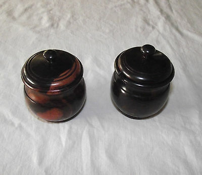 Lot of 2 Wooden Salts Pots Condiments Turned Wood