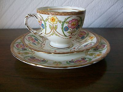 Art Deco Sutherland Bone China Trio with Gold Trim #2484 -1 Cup 1 Saucer 1 Plate