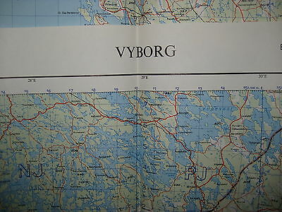 1957 WAR OFFICE Map RUSSIA - VYBORG 103C - Mint Condition