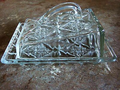 Vintage Pressed Glass Cheese Dish with Slope Lid.