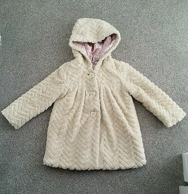 girls warm junior j jasper conran faux fur lined coat 3-4 cream simply gorgeous