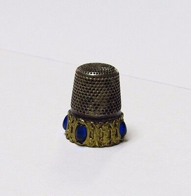 Antique Sterling Silver Sewing Thimble Yellow Gold with Blue Stones