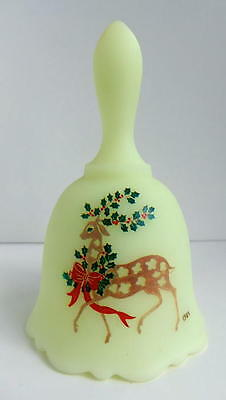 Fenton Custard Bell - Festive Deer decorated with Holly & Bow, 1984