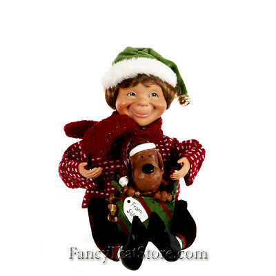Karen Didion Elf with Puppy CC12-20 | Christmas | New