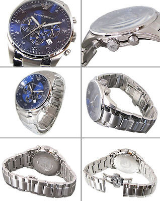 New Emporio Armani Ar5860 Blue Stainless Steel Chronograph Mens Watch