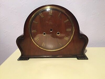 Antique vintage wooden clock case glass bezel spares repair Smiths Enfield Brass
