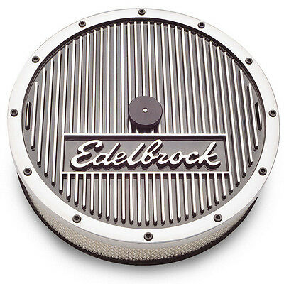 "Edelbrock 4207 Elite Series Polished Aluminum Top 14x3"" Round Air Cleaner Kit"
