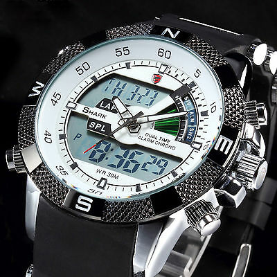 SHARK Mens Sport Watch Military Army Digital LED Date Day Alarm Black Rubber