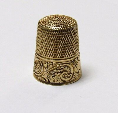 1800's Antique Handmade 14k Yellow Gold Sewing Thimble Size 10, 5 grms