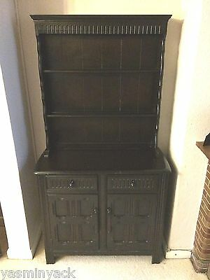 Vintage Priory Dark Oak Dresser Display Shelving Cabinet Cupboard And Drawers