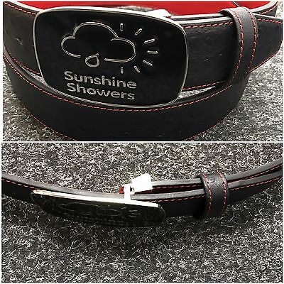 Real Leather SS Tour Ostrich Leather Black/Red Belt And Black Buckle New