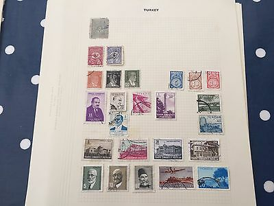 Turkey Pakistan Palestine assortment of stamps from multiple collectors on pages