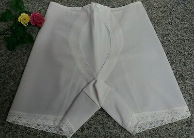 "Vintage Nylon White Pantie Girdle Shorts Lace Shaper Hold In Pants 32"" Waist"