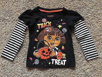 NWT Girls Black Long Sleeve Dora Top 2T 3T 5T