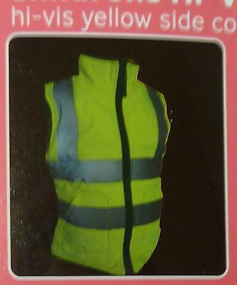 BNWT Kids Hi Vis Padded Gilet Neon Yellow / Blk Reversible Horse Riding Age 9 10