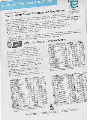 Rare Vintage Official Womens Football Bulletin..28 Oct.1999. Issue 11..exc.cond.