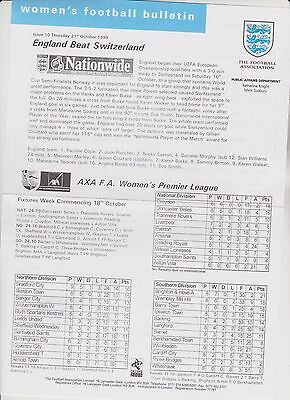 Rare Vintage Official Womens Football Bulletin..21 Oct.1999. Issue 10..exc.cond.