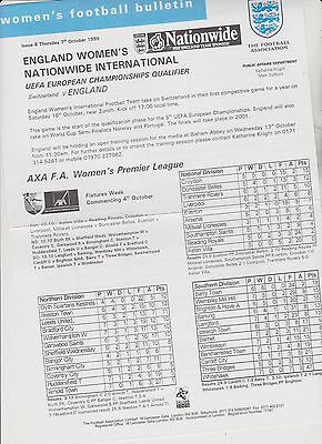 RARE VINTAGE OFFICIAL WOMENS FOOTBALL BULLETIN..7th OCT.1999. ISSUE 8..EXC.COND.