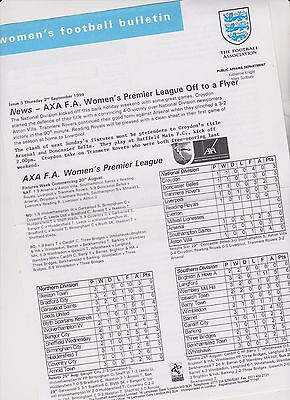 RARE VINTAGE OFFICIAL WOMENS FOOTBALL BULLETIN..2nd SEP.1999. ISSUE 3..EXC.COND.