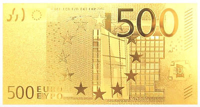 Original *€500* EUROS -10TH ANNIVERSARY 24K PURE GOLD PROOF Banknote *MUST SEE!