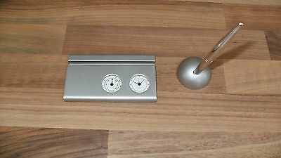 Gift Set Pen Card Holder With Clock And Thermometer