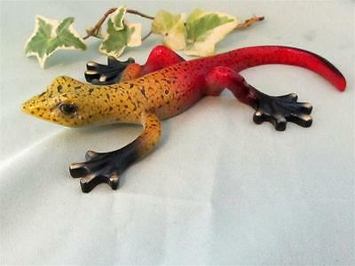 LIZARD GECKO Red Yellow Black  Colorful Hand Painted Resin Sculpture